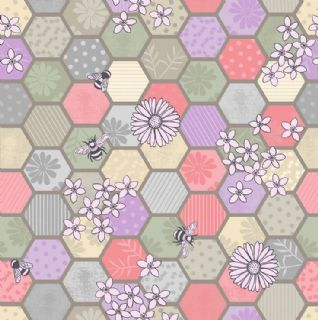 Lewis & Irene - Bee Kind - 5783 - Honeycomb Floral, Pink & Lilac on Taupe  - A283.1 - Cotton Fabric